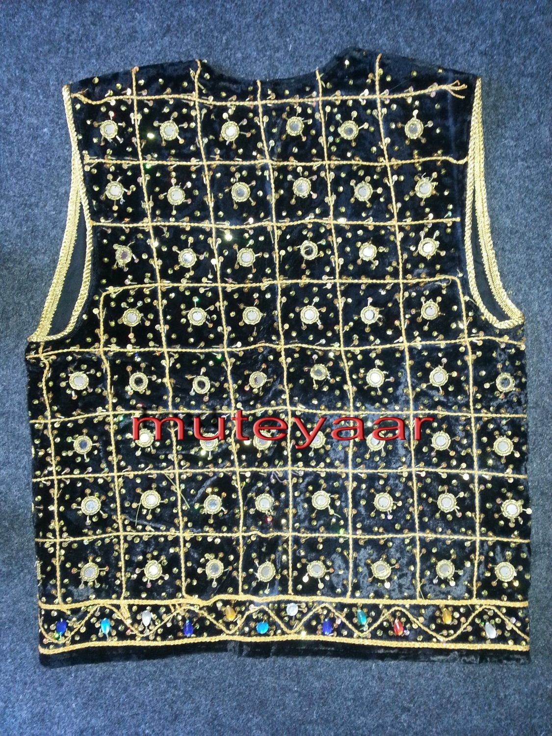 Jaal Embroidered BLACK vest for Bhangra dance costume  / outfit 2