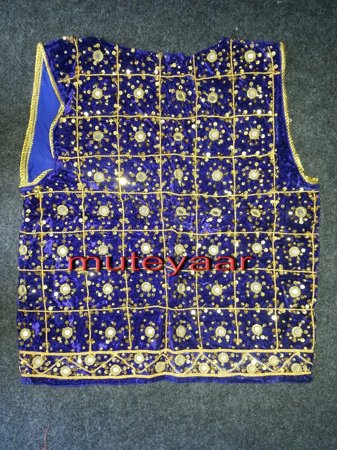 Jaal Embroidered BLUE vest for Bhangra dance costume  / outfit 2