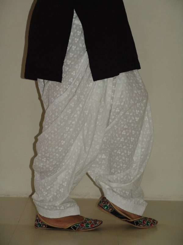 Chikan Patiala Salwar Pure Soft Cotton - All Colours & Sizes Available