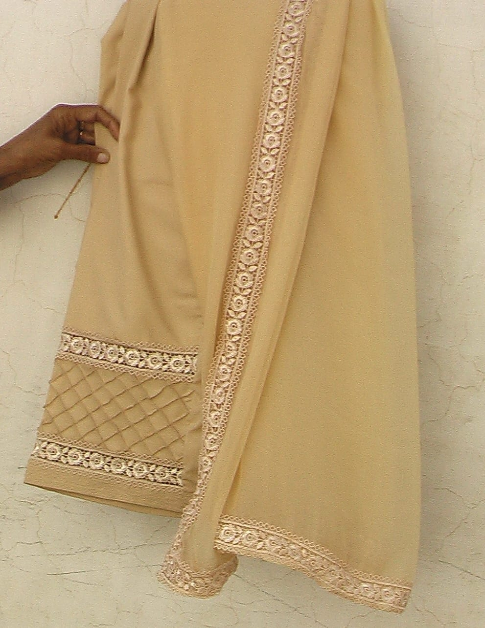 Custom Made Pintex Barfi Lace Work Patiala Salwar + Dupatta set 3