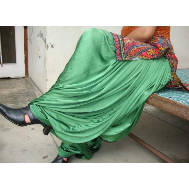 Custom Made Green Satin Silk Maharani Patiala Salwar - all colours,sizes available