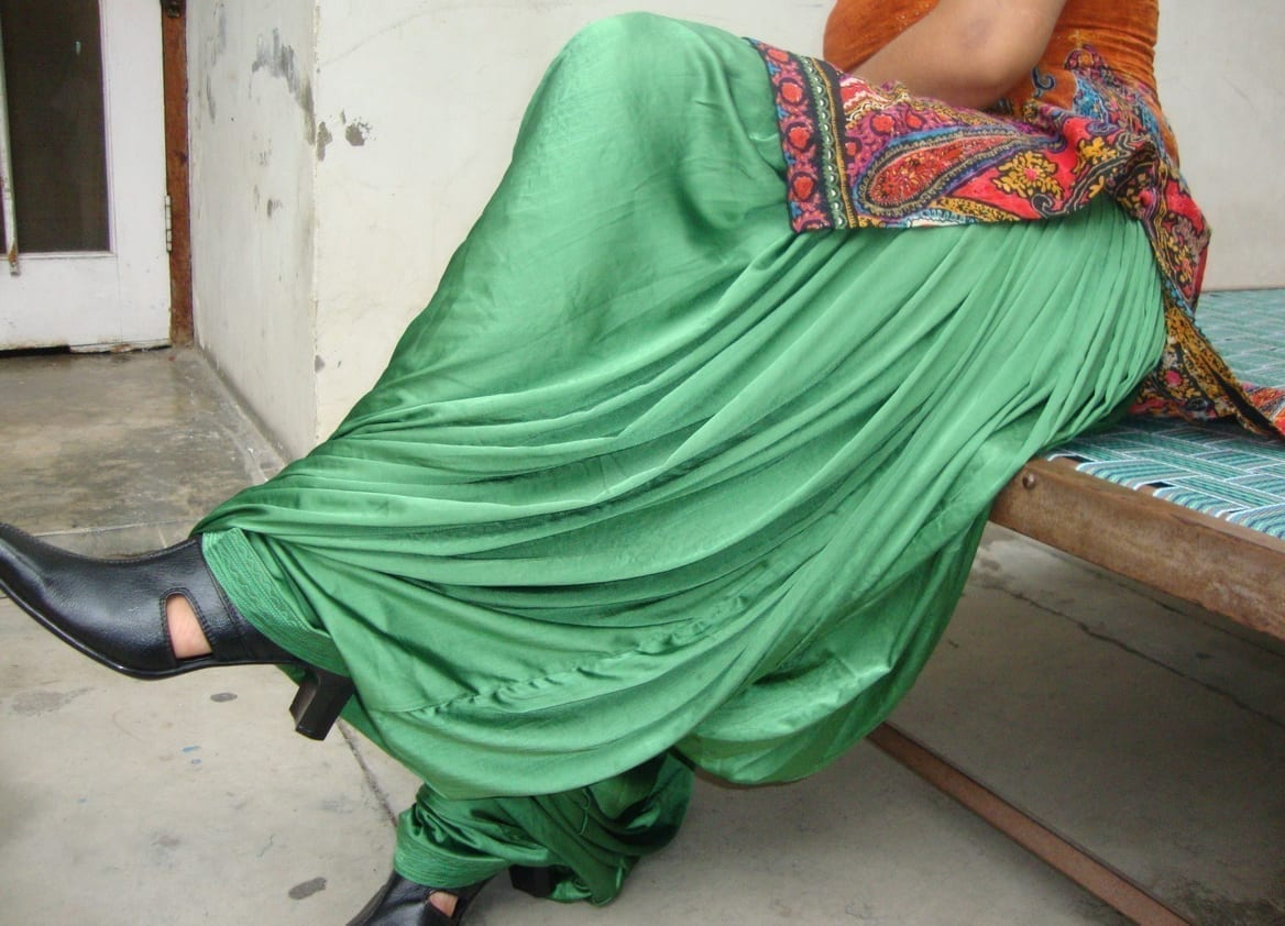Custom Made Green Satin Silk Maharani Patiala Salwar - all colours,sizes available 1