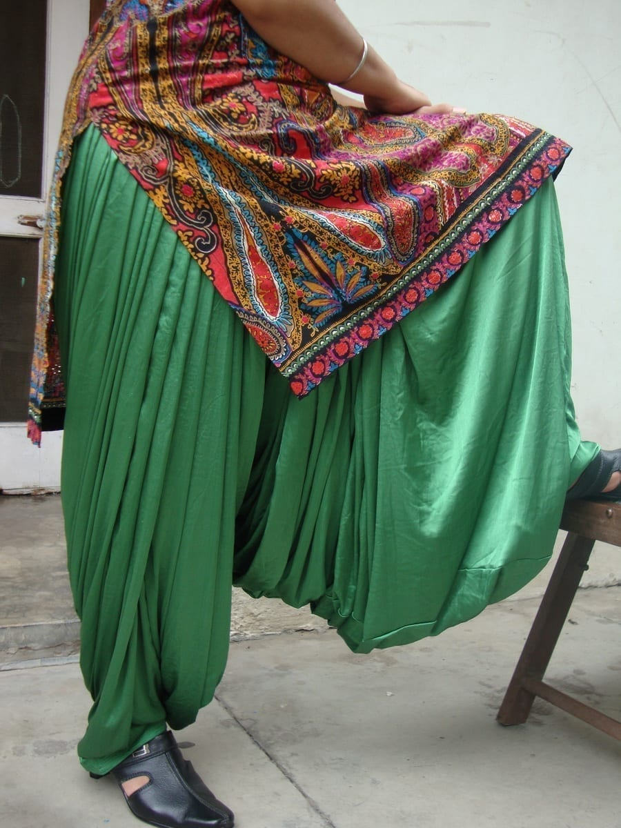 Custom Made Green Satin Silk Maharani Patiala Salwar - all colours,sizes available 2