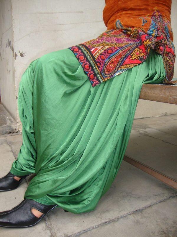 Custom Made Green Satin Silk Maharani Patiala Salwar - all colours,sizes available