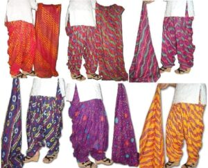 Lot of 25 printed PURE COTTON Full Patiala Salwars & cotton dupatta