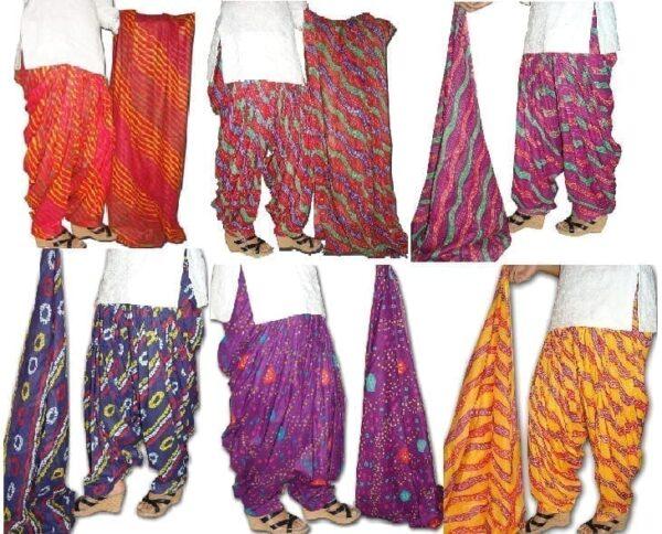 Lot of 25 printed PURE COTTON Full Patiala Salwars & cotton dupatta