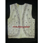 Jaal Embroidered WHITE vest for Bhangra dance costume  / outfit