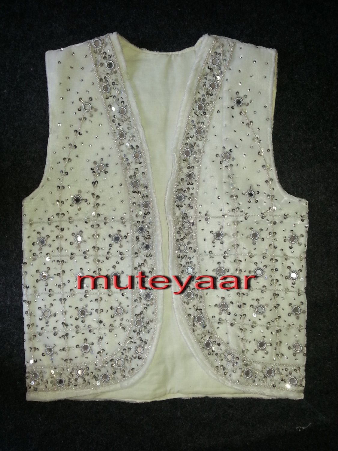 Jaal Embroidered WHITE vest for Bhangra dance costume  / outfit 1