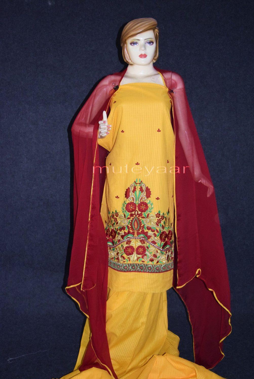 Designer Embroidery 100% cotton Salwar Suit PURE CHIFFON Dupatta RM288 1
