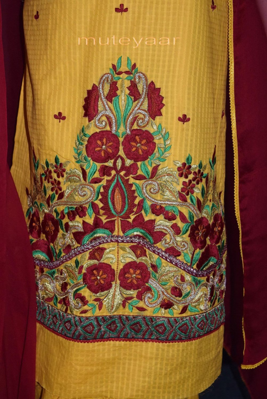 Designer Embroidery 100% cotton Salwar Suit PURE CHIFFON Dupatta RM288 3