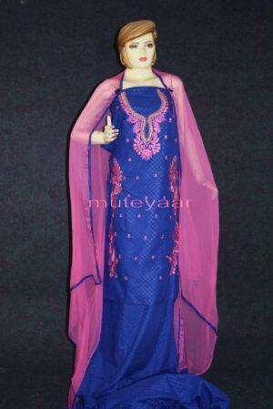 Designer Embroidery 100% cotton Salwar Suit PURE CHIFFON Dupatta RM289