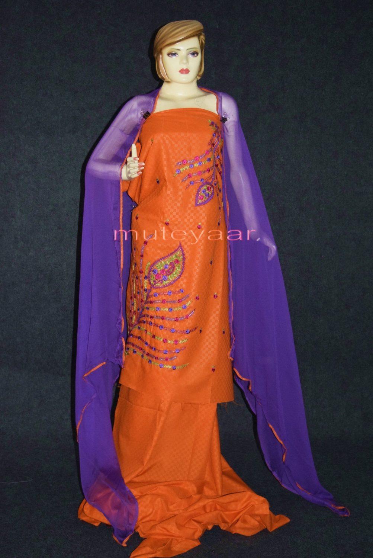 Designer Embroidery 100% cotton Salwar Suit PURE CHIFFON Dupatta RM292 1