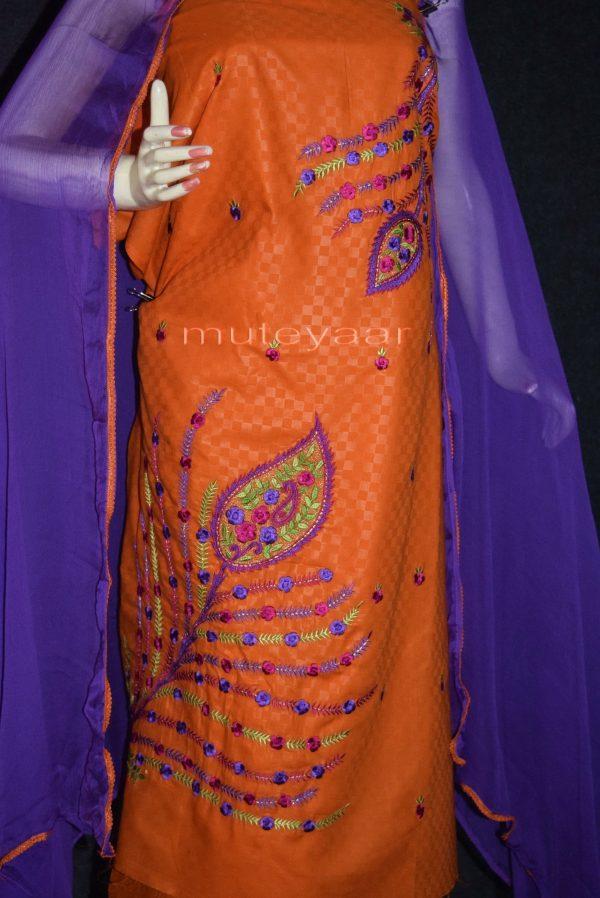 Designer Embroidery 100% cotton Salwar Suit PURE CHIFFON Dupatta RM292