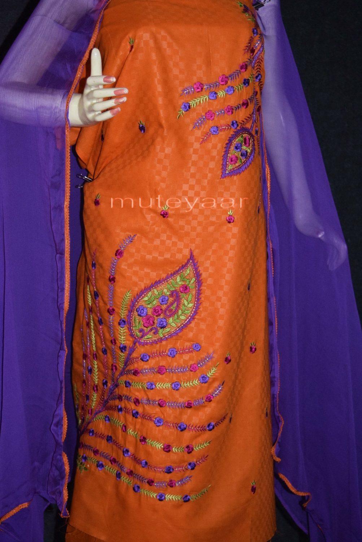 Designer Embroidery 100% cotton Salwar Suit PURE CHIFFON Dupatta RM292 2