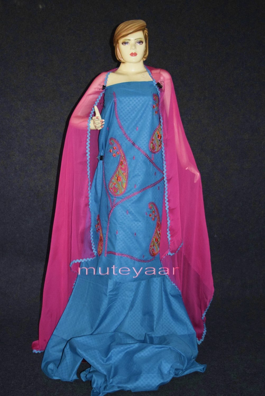 Designer Embroidery 100% cotton Salwar Suit PURE CHIFFON Dupatta RM294 1