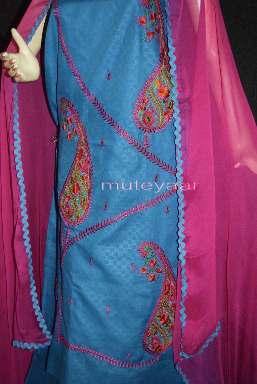 Designer Embroidery 100% cotton Salwar Suit PURE CHIFFON Dupatta RM294 2