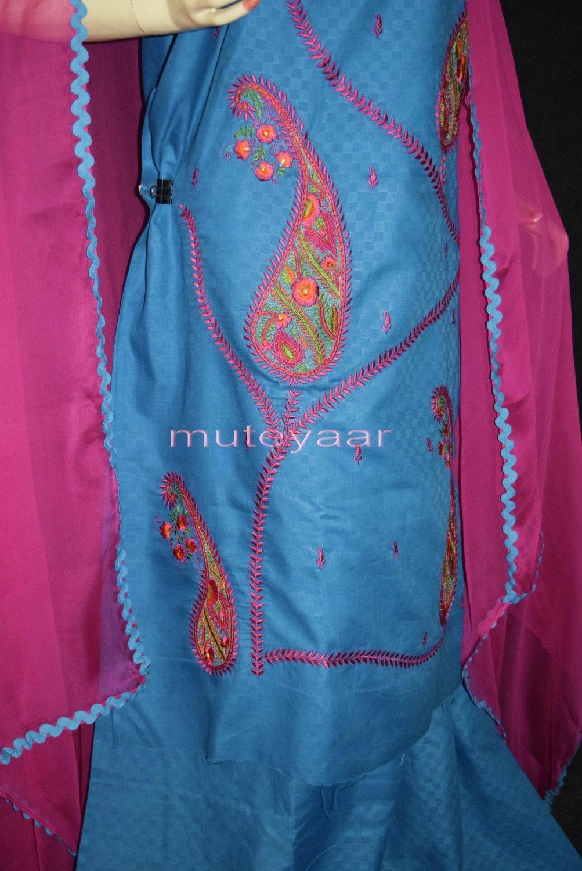 Designer Embroidery 100% cotton Salwar Suit PURE CHIFFON Dupatta RM294 3