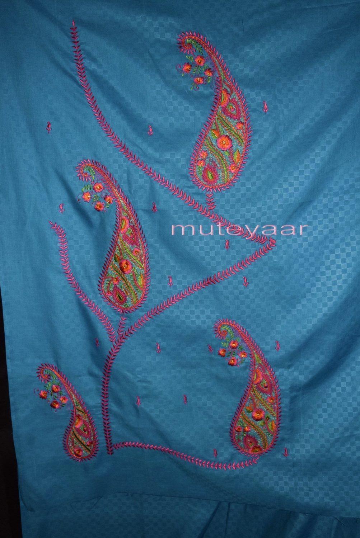 Designer Embroidery 100% cotton Salwar Suit PURE CHIFFON Dupatta RM294 4