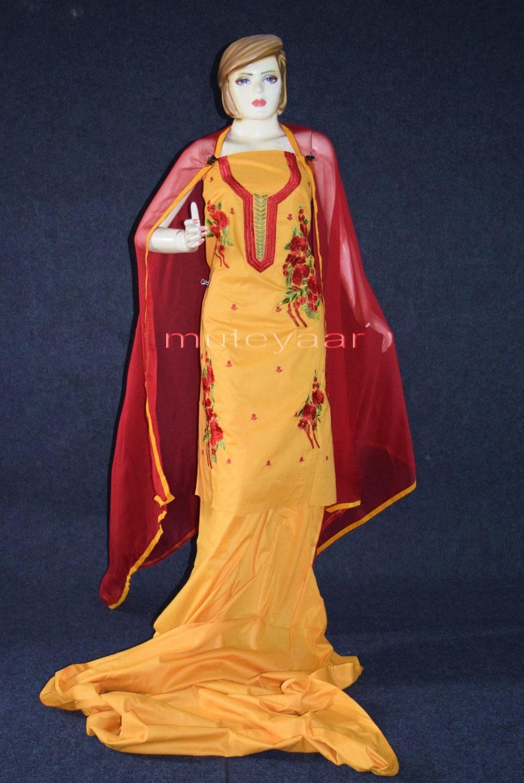 Designer Embroidery 100% cotton Salwar Suit PURE CHIFFON Dupatta RM295 1