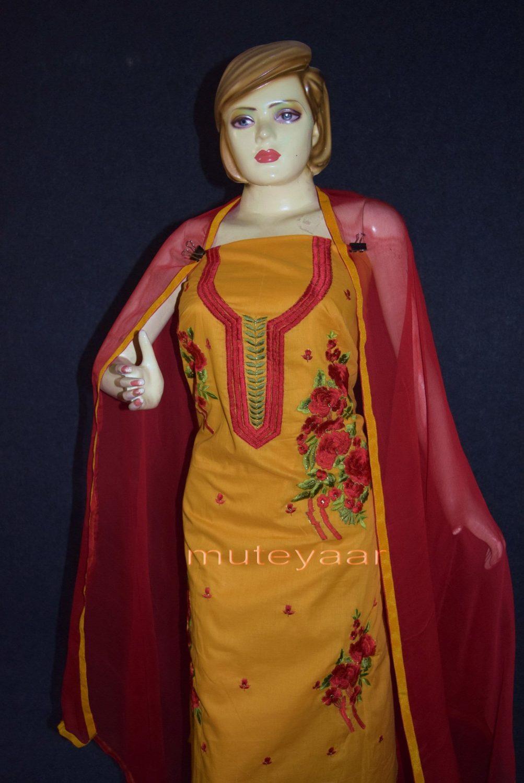 Designer Embroidery 100% cotton Salwar Suit PURE CHIFFON Dupatta RM295 2