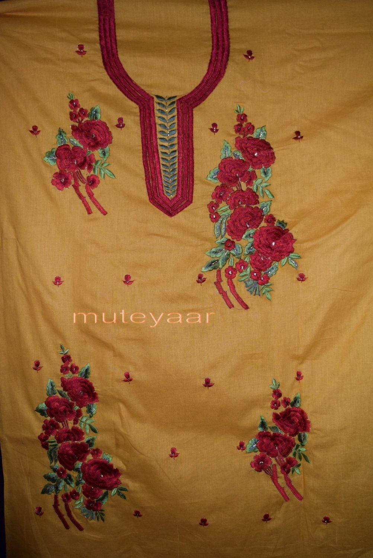 Designer Embroidery 100% cotton Salwar Suit PURE CHIFFON Dupatta RM295 4