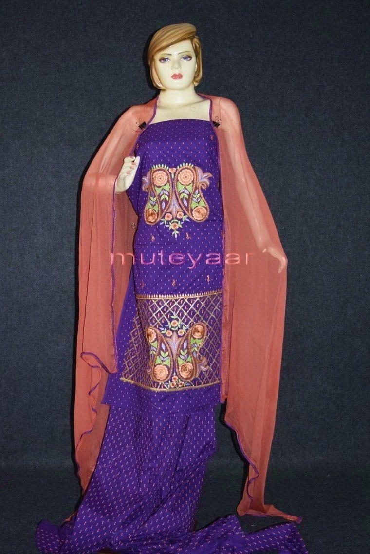 Designer Embroidery 100% cotton Salwar Suit PURE CHIFFON Dupatta RM302 1