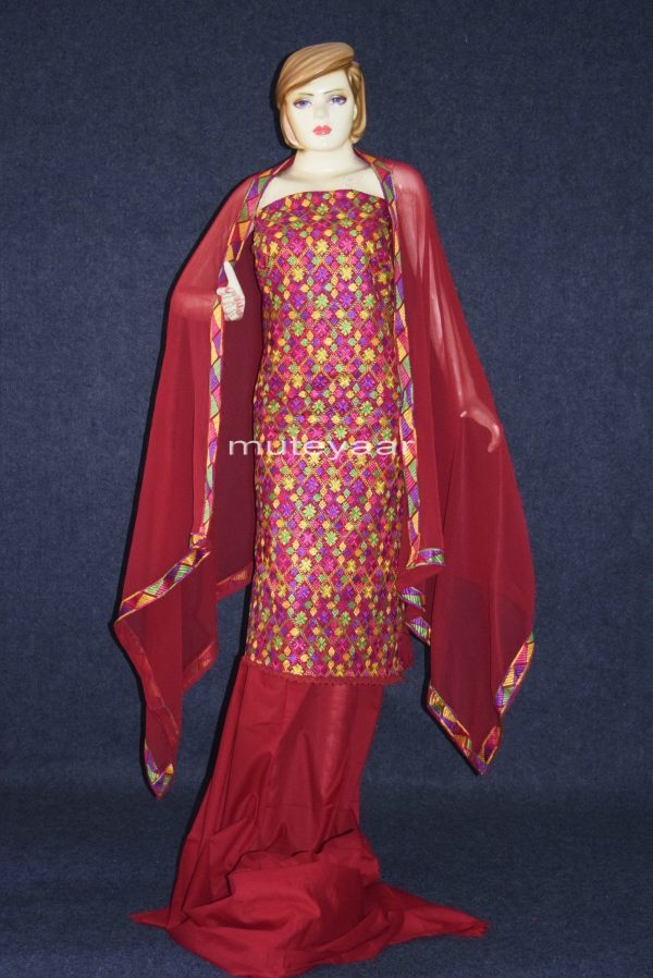 WHOLESALE LOT of 10 JAAL PHULKARI Salwar Kameez Dupatta Suits
