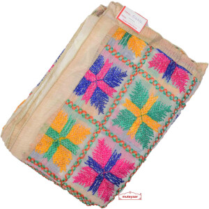 White Punjabi Phulkari Dupatta with Multicolour Embroidery D0836