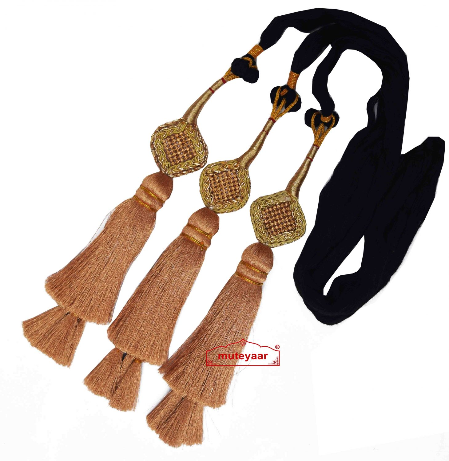 Traditional Punjabi Ethnic GOLDEN Paranda parandi with Zircons embelishment 1