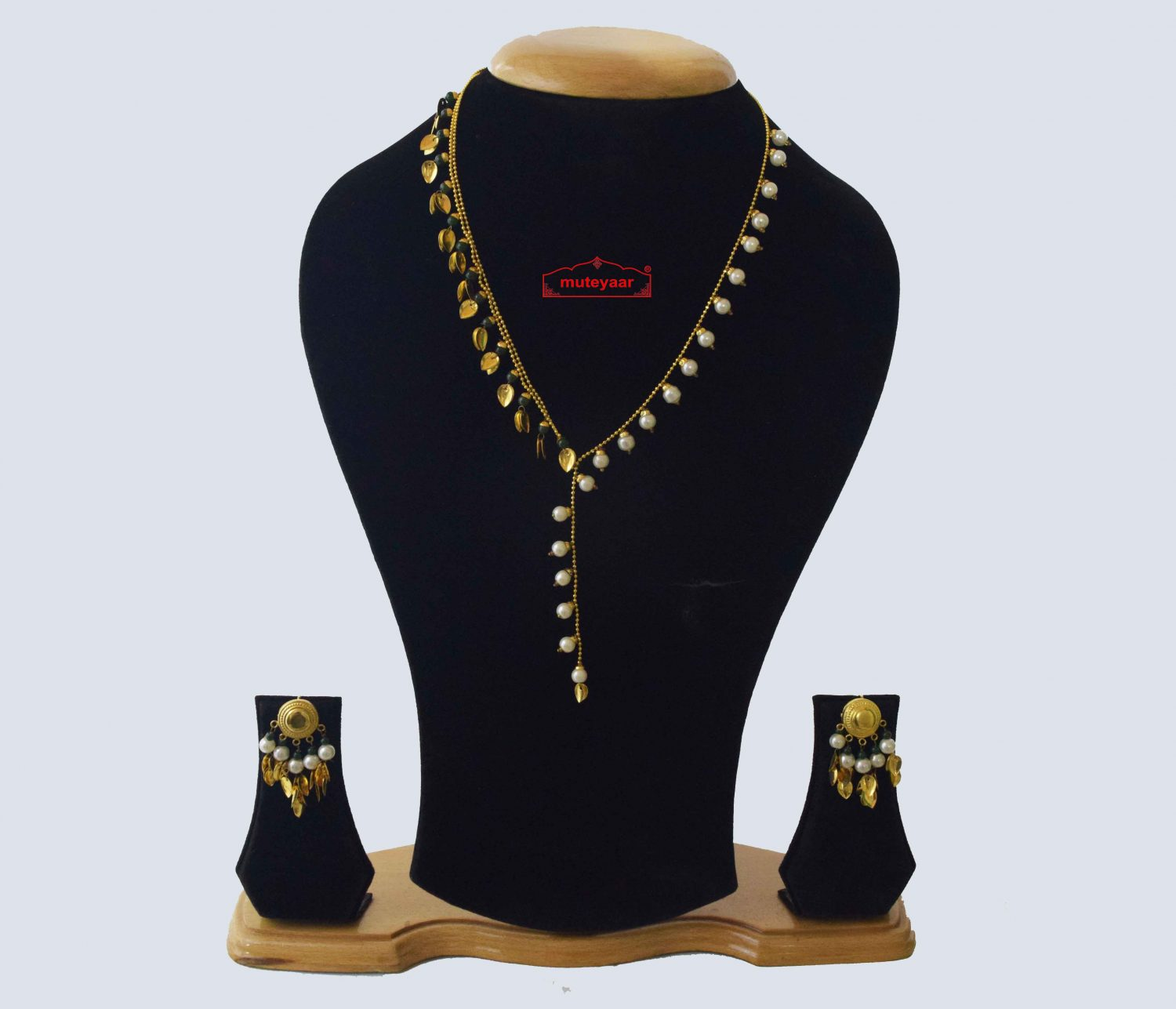 24 Ct. Gold Plated Traditional Punjabi chain set with two colour Moti Beads J0211 1