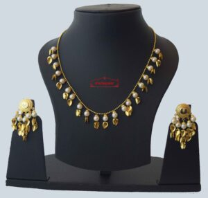 Gold Plated Traditional Punjabi chain set with Moti Beads J0212