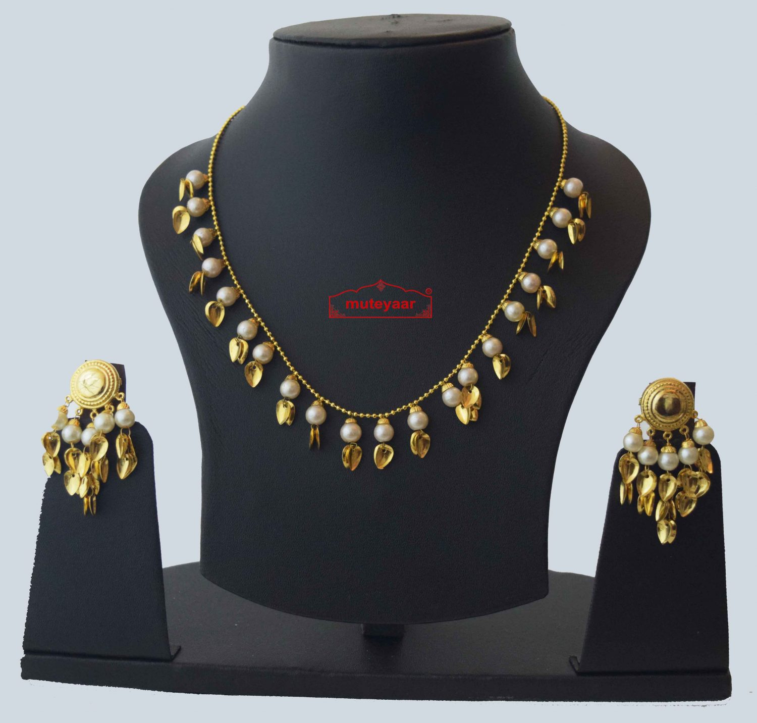 Gold Plated Traditional Punjabi chain set with Moti Beads J0212 1