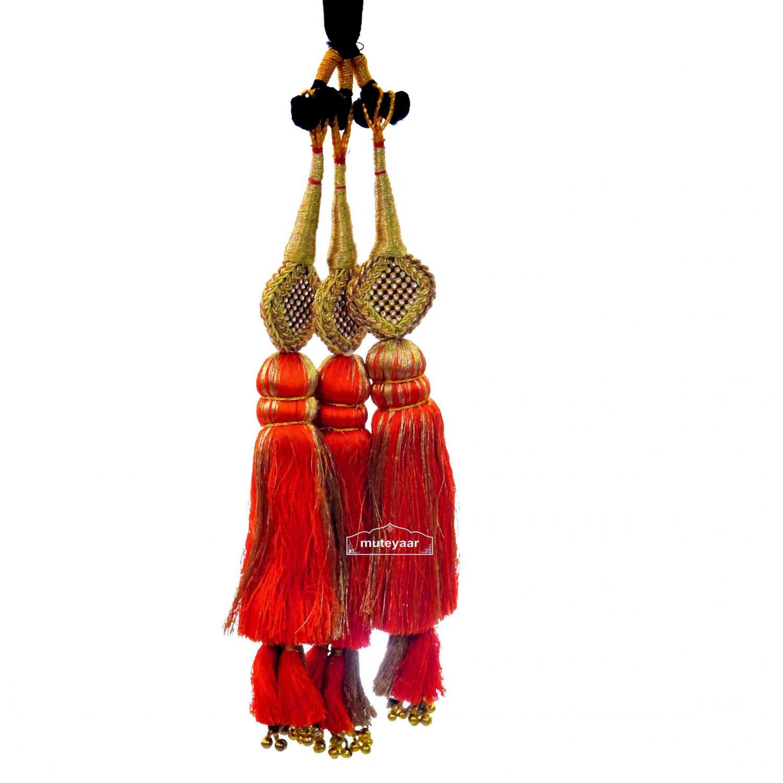 Traditional Punjabi Ethnic ORANGE Paranda parandi with Zircons embelishment 1
