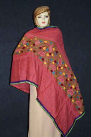 Designer Cotton Jali Hand Embroidered Partywear Dupatta D0762