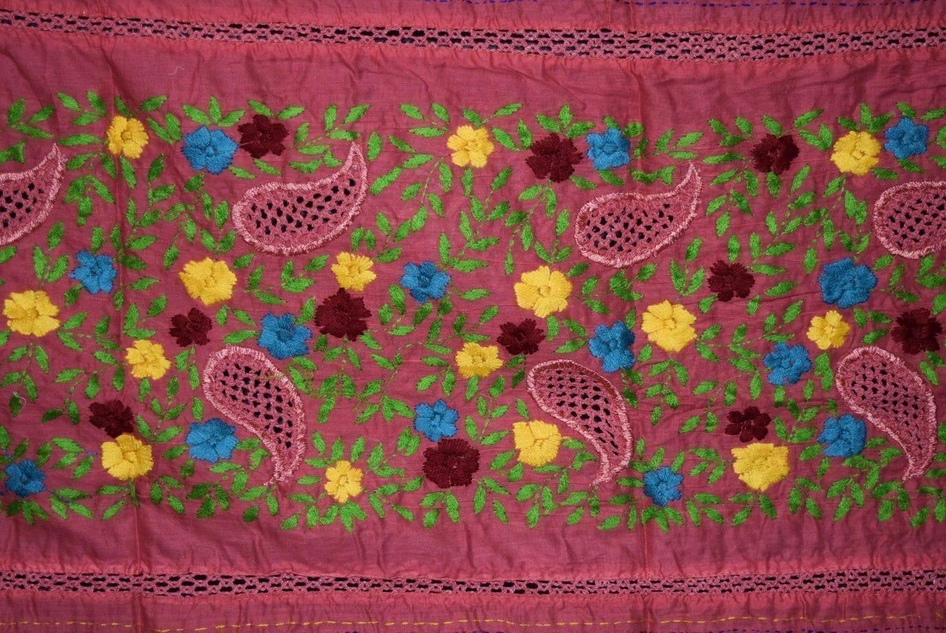 Designer Cotton Jali Hand Embroidered Partywear Dupatta D0762 2