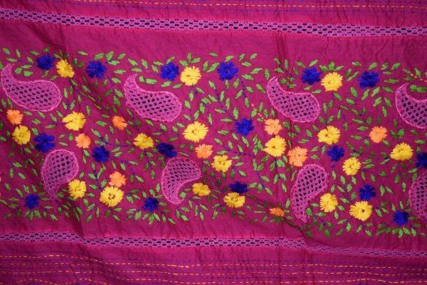 Designer Cotton Jali Hand Embroidered Partywear Dupatta D0763