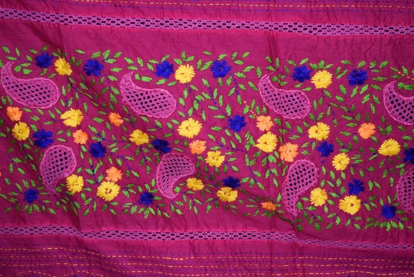 Designer Cotton Jali Hand Embroidered Partywear Dupatta D0763 2