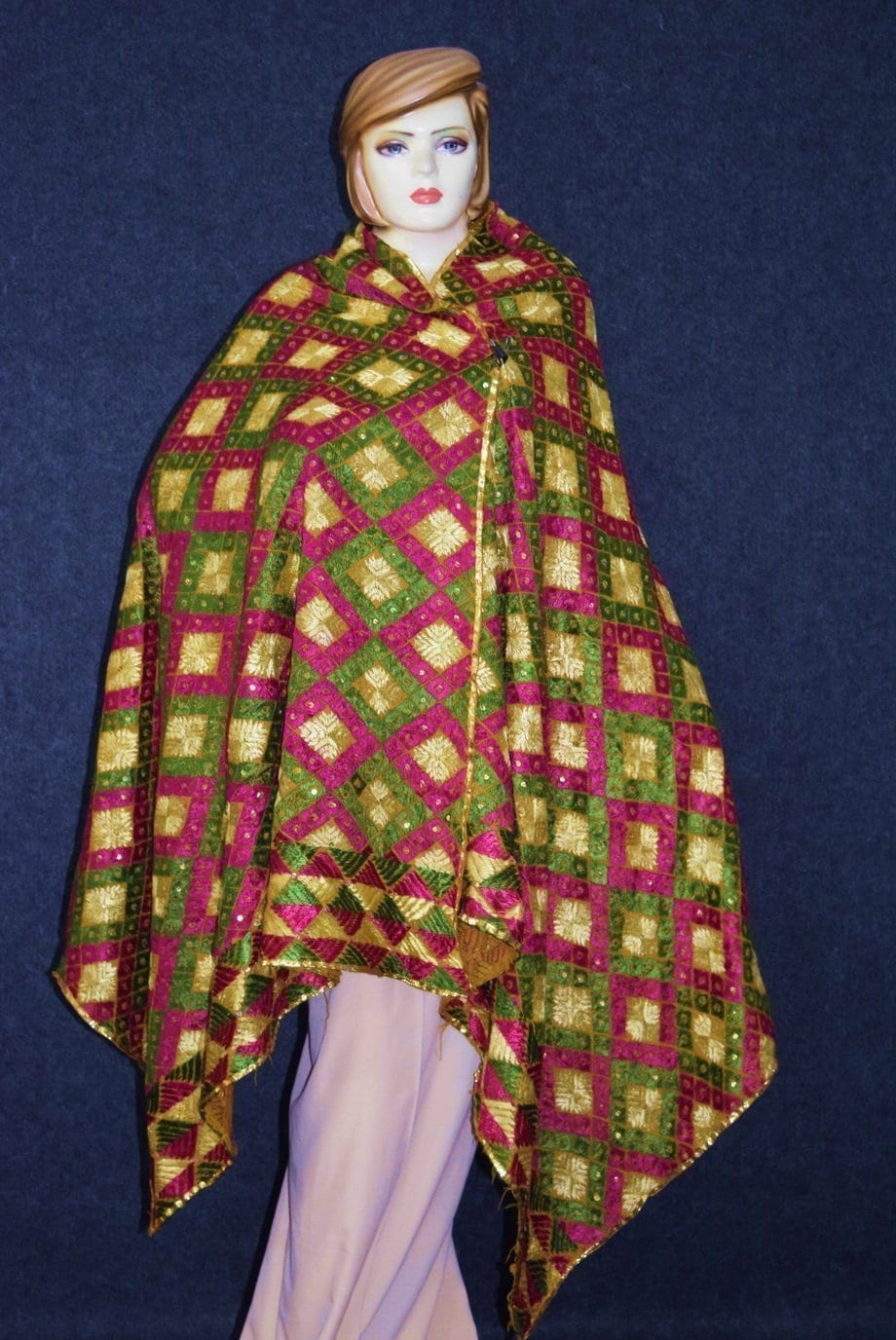 PUNJABI PHULKARI JAAL Hand Embroidered Partywear COTTON Dupatta D0812 1