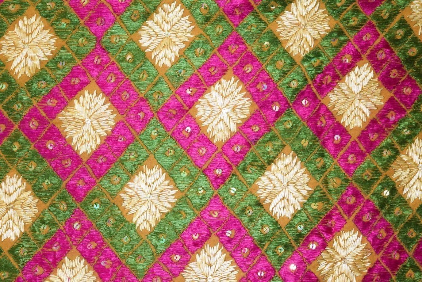 PUNJABI PHULKARI JAAL Hand Embroidered Partywear COTTON Dupatta D0812 2