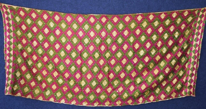 PUNJABI PHULKARI JAAL Hand Embroidered Partywear COTTON Dupatta D0812 3