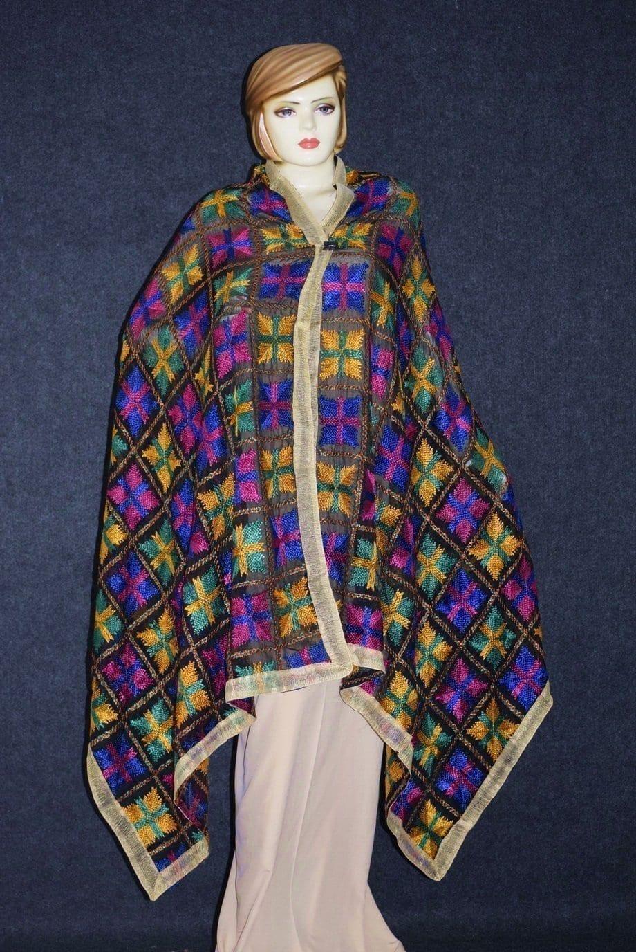 PUNJABI PHULKARI JAAL M/C Embroidered Partywear Faux Chiffon Dupatta D0823 1