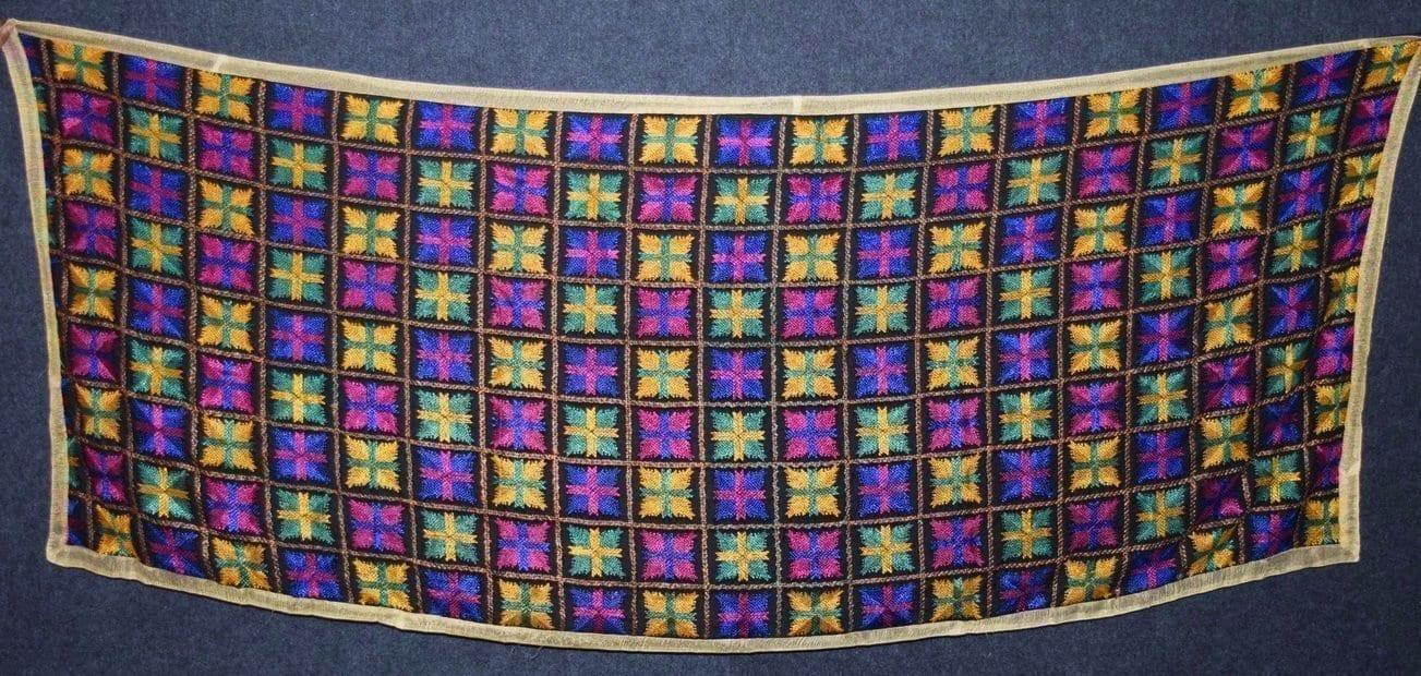 PUNJABI PHULKARI JAAL M/C Embroidered Partywear Faux Chiffon Dupatta D0823 2