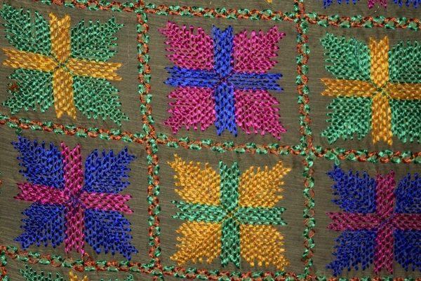 PUNJABI PHULKARI JAAL M/C Embroidered Partywear Faux Chiffon Dupatta D0836