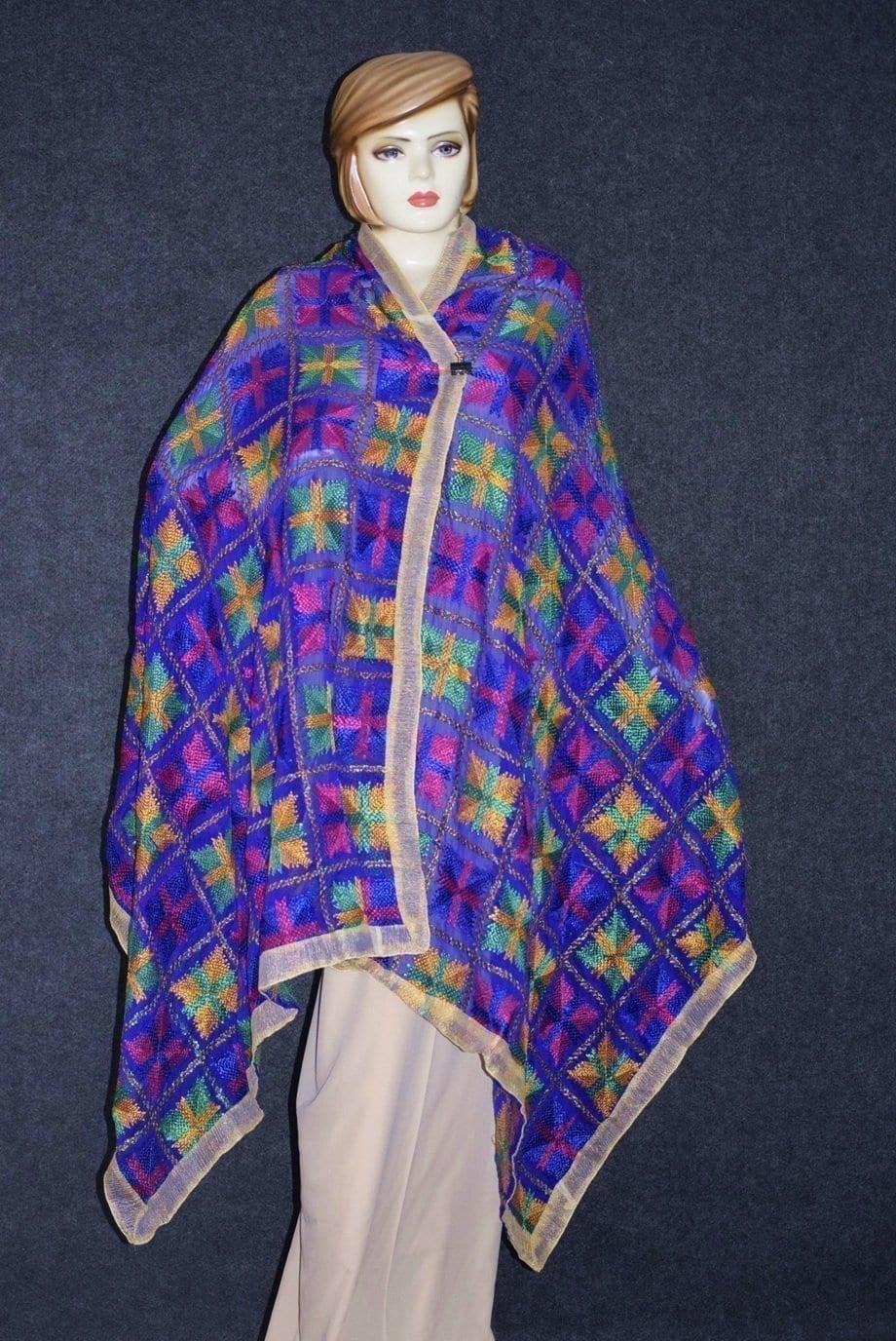 PUNJABI PHULKARI JAAL M/C Embroidered Partywear Faux Chiffon Dupatta D0837 1