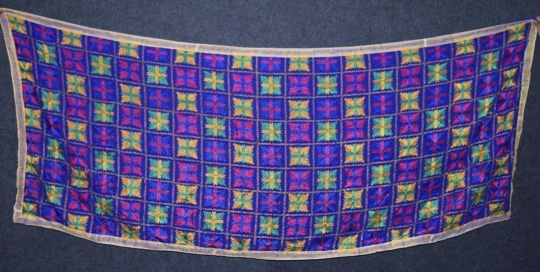 PUNJABI PHULKARI JAAL M/C Embroidered Partywear Faux Chiffon Dupatta D0837 2