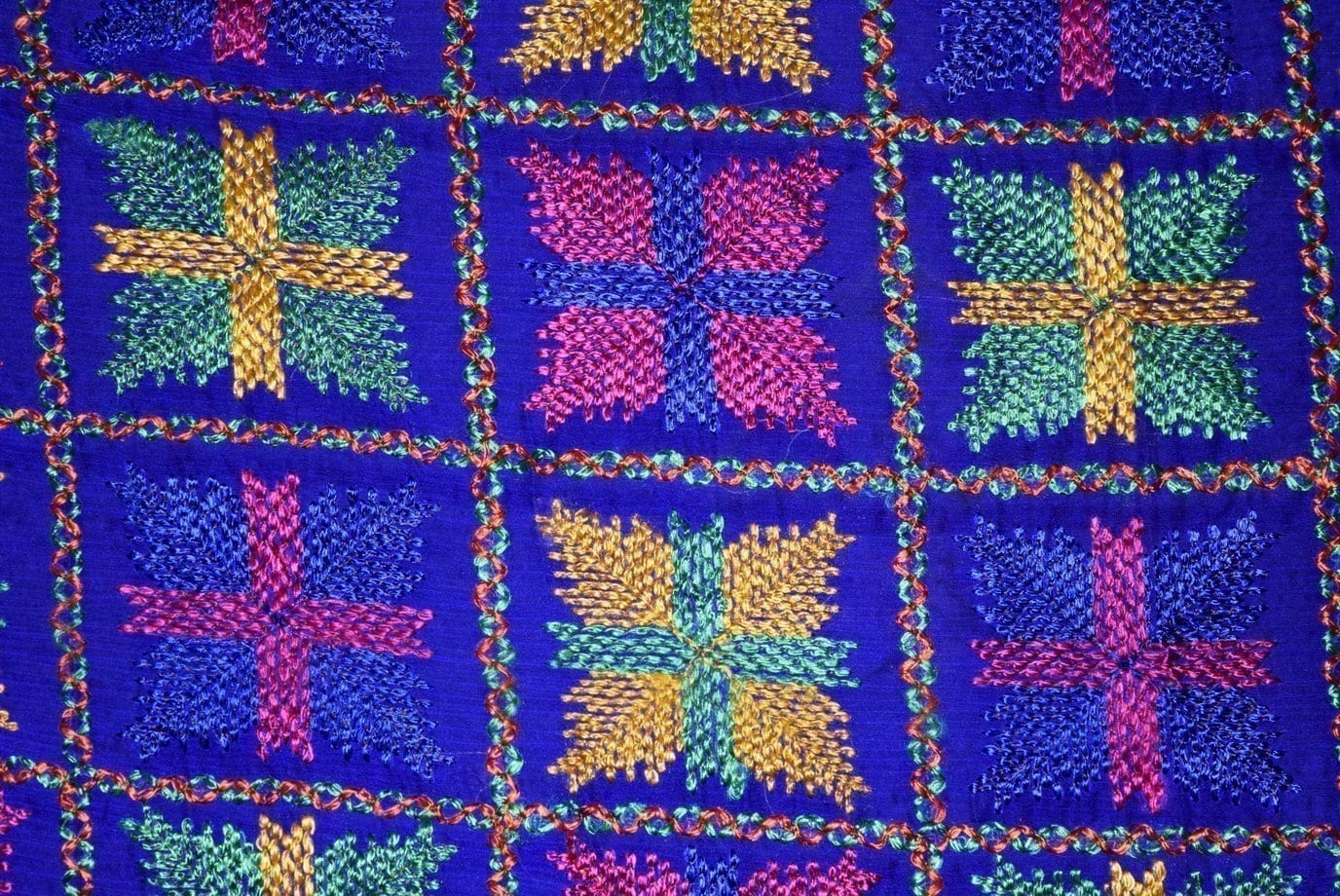 PUNJABI PHULKARI JAAL M/C Embroidered Partywear Faux Chiffon Dupatta D0837 3