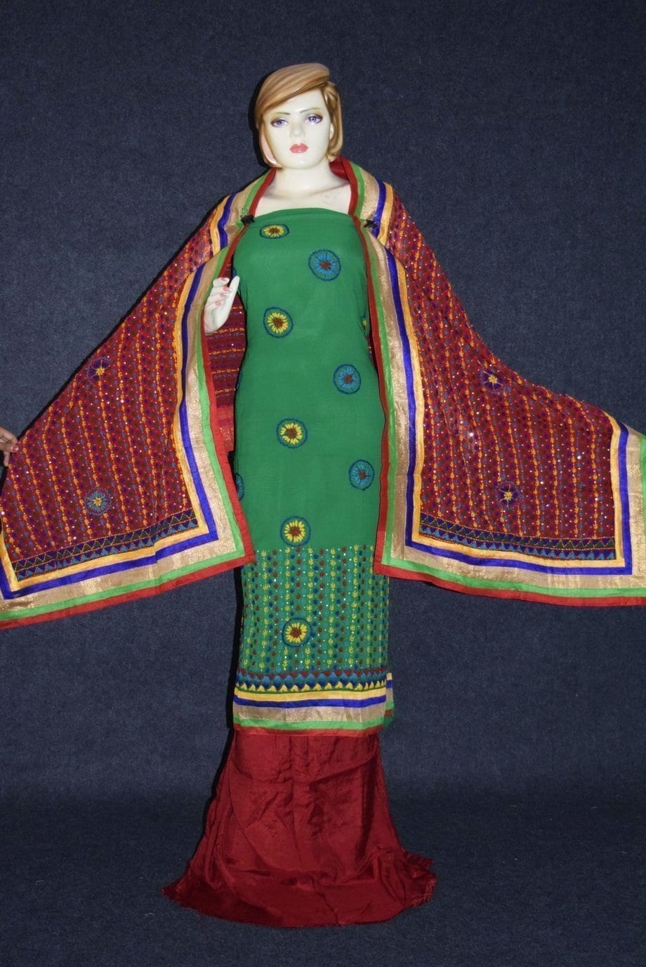 Party Wear Georgette hand Embroidered Salwar kameez stole suit set F0648 1