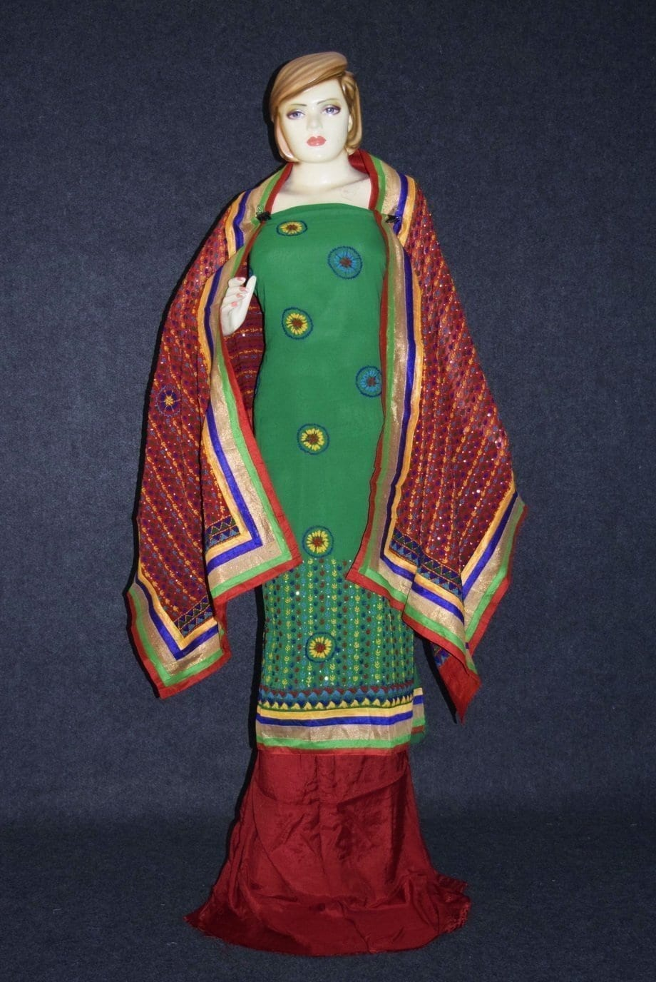 Party Wear Georgette hand Embroidered Salwar kameez stole suit set F0648 2