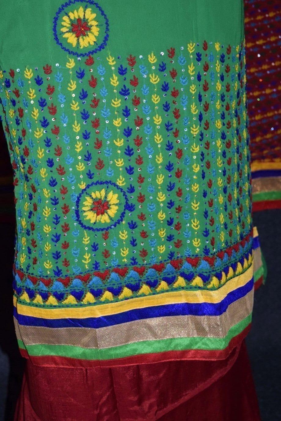 Party Wear Georgette hand Embroidered Salwar kameez stole suit set F0648 3