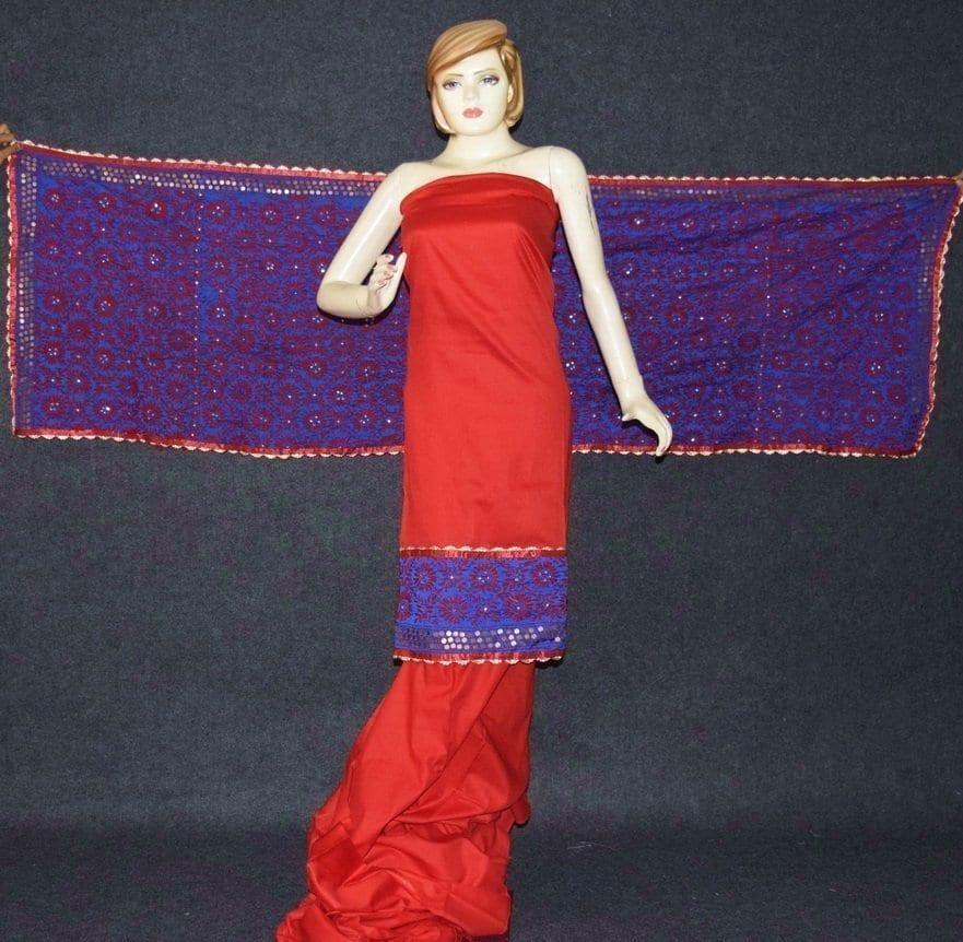 Pure Cotton Hand Embroidered Salwar kameez stole suit set F0655 1